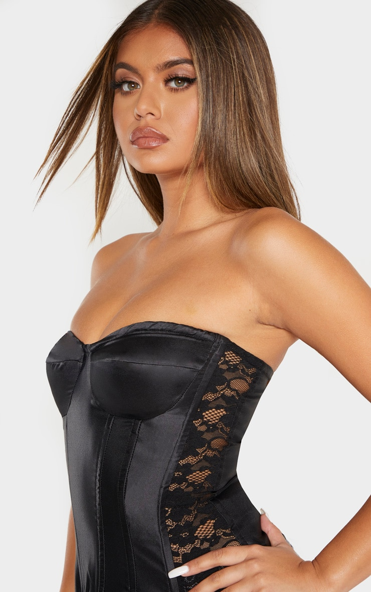 Black Satin Boned Lace Panel Corset Top 1