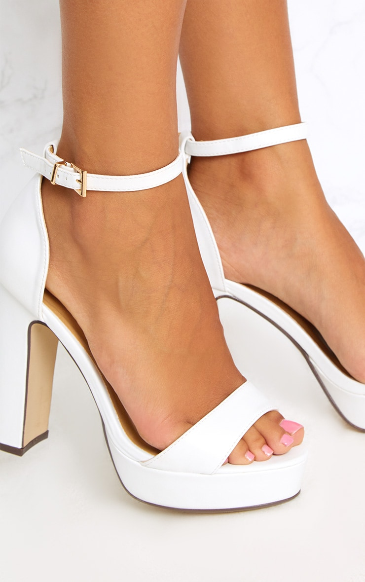 Taya White PU Platform Sandals 5