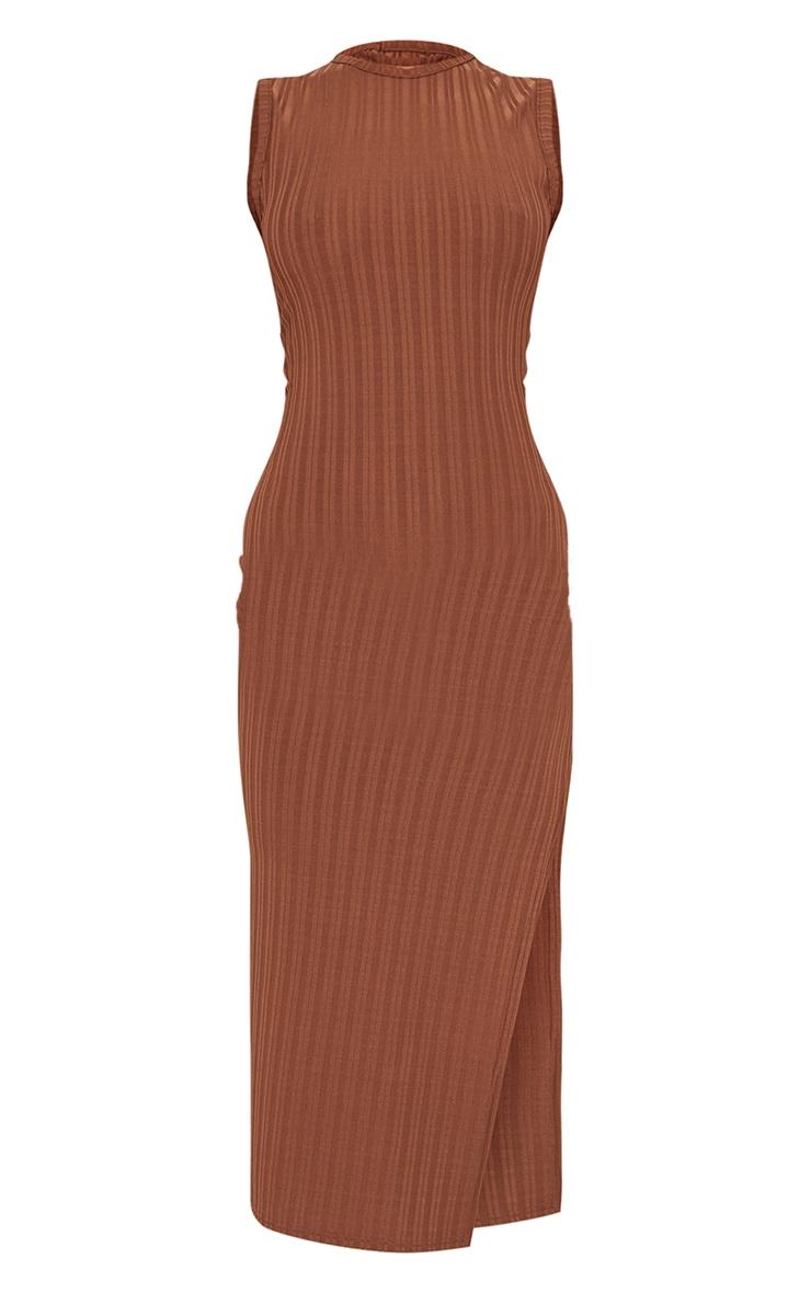 Recycled Chocolate Rib Split High Neck Midi Dress 5