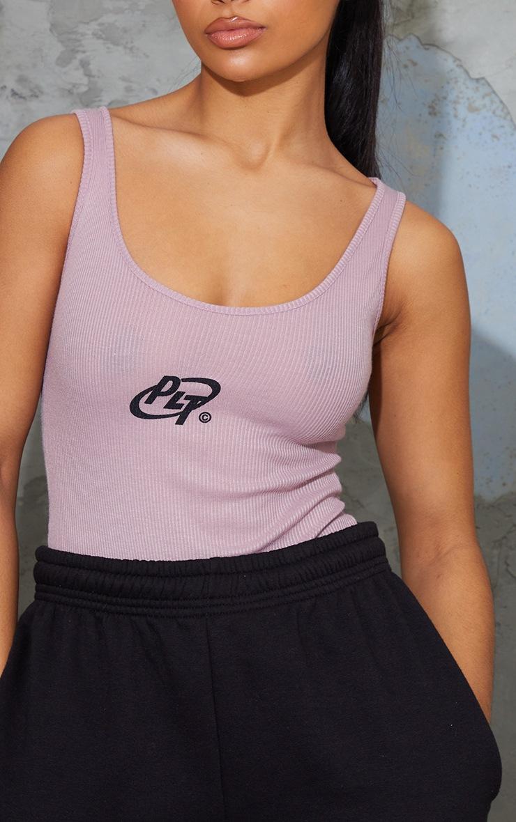 PRETTYLITTLETHING Mauve Rib Circle Logo Bodysuit 4