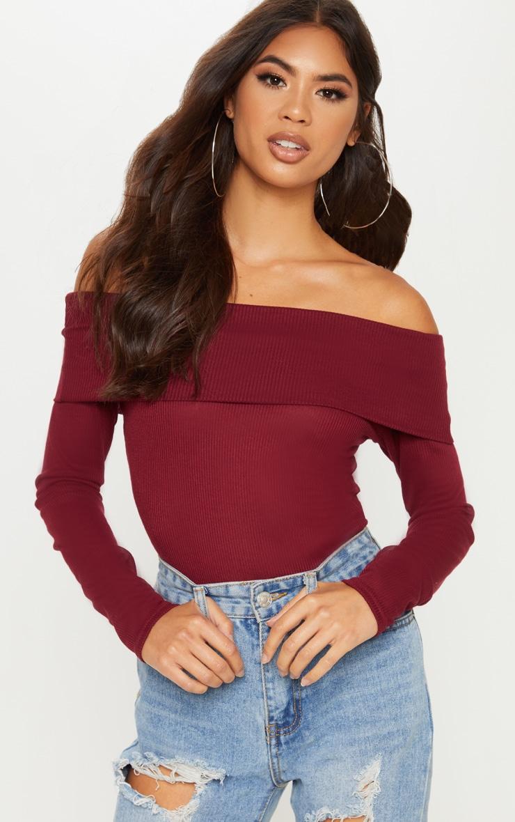 Burgundy Long Sleeve Rib Bardot Bodysuit