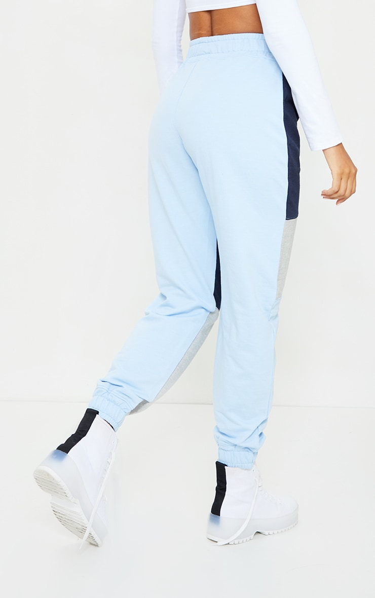 PRETTYLITTLETHING Baby Blue Colourblock Detail Casual Joggers 3