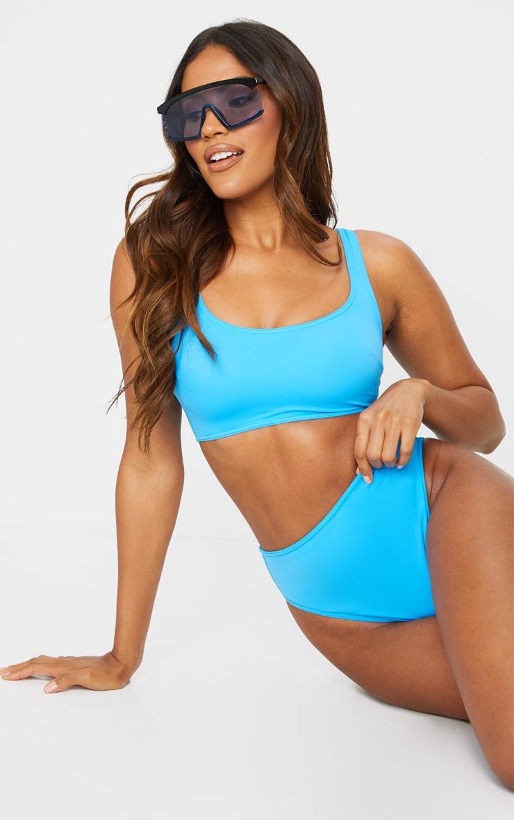 Blue Scoop Neck Bikini Top 1