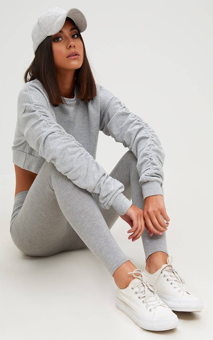 Grey Ruched Sleeve Oversized Cropped Sweater 3