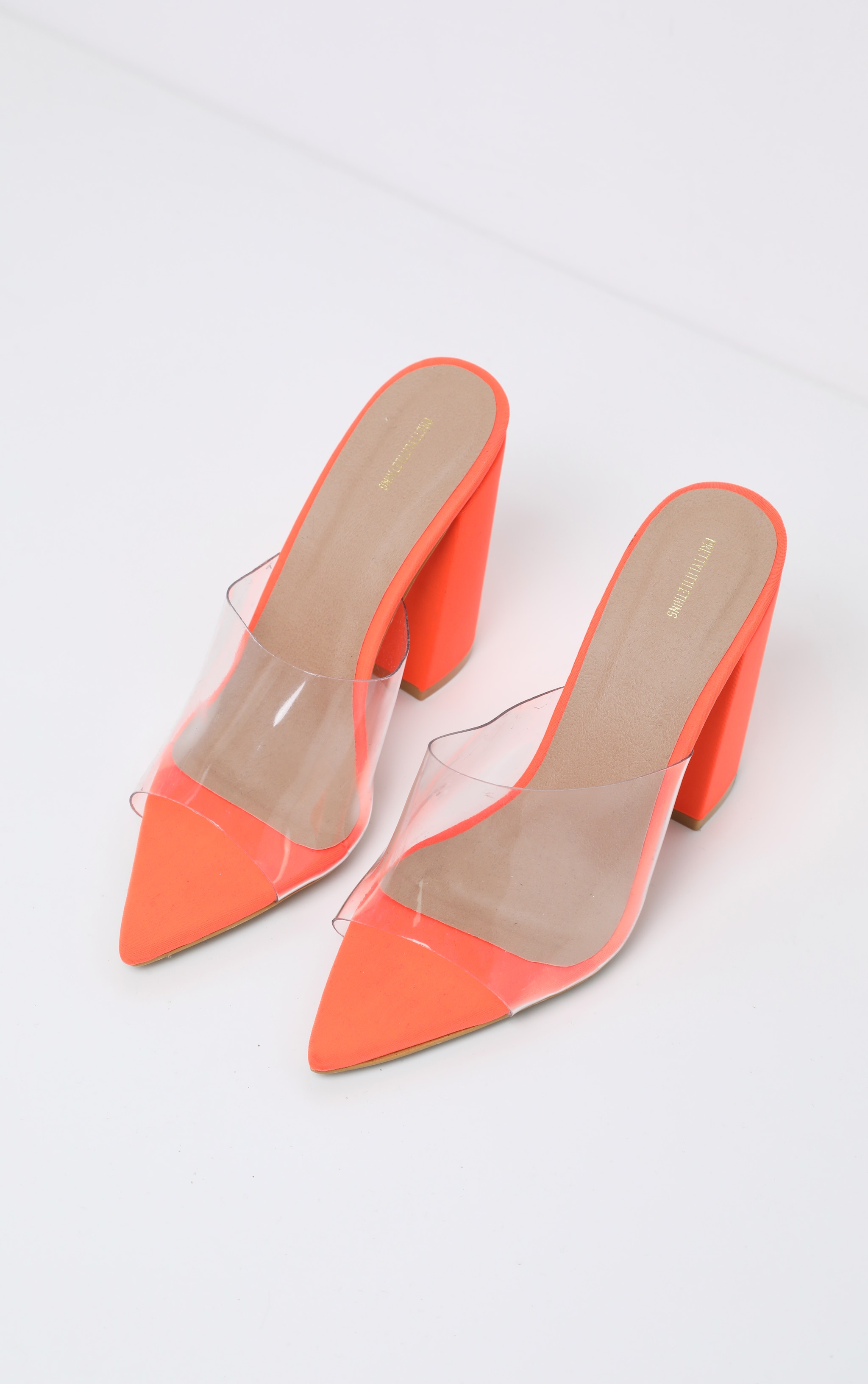 Orange Block Heel Point Toe Mule 3