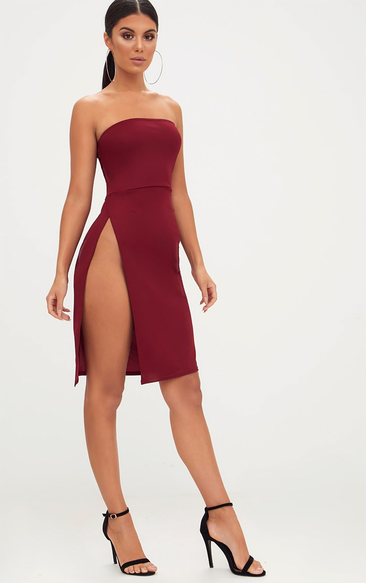 Burgundy Extreme Split Bandeau Midi Dress 4