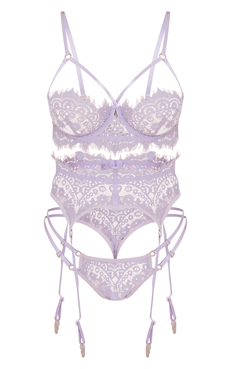 Lilac Harness Strap Detail Lace 3 Piece Lingerie Set 5