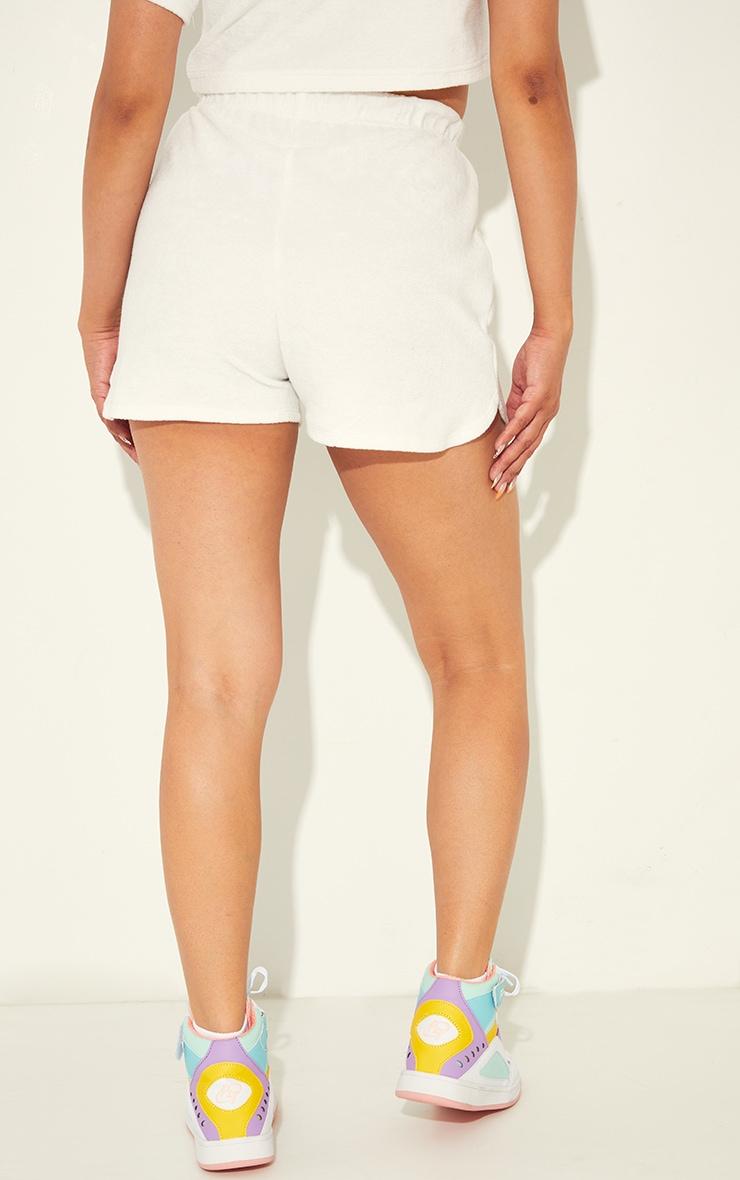 Cream Towelling Floaty Shorts 3