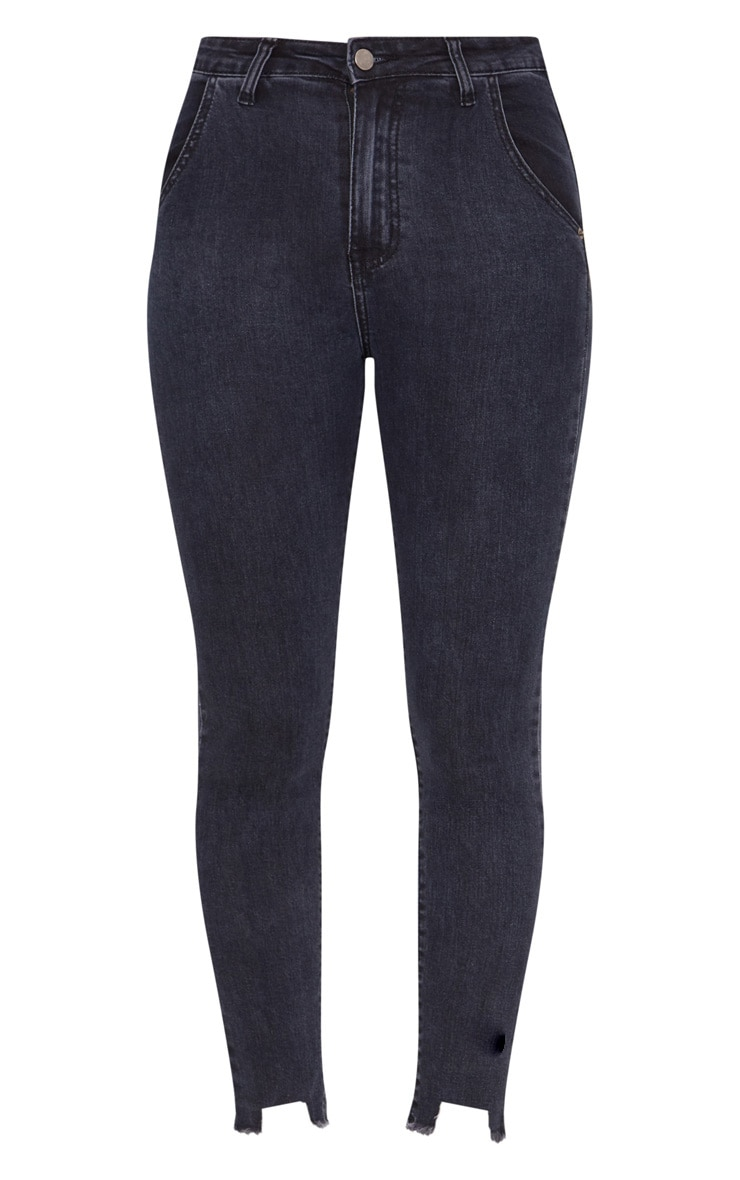 Washed Indigo Diagonal Pocket Cut Hem Skinny Jean 3