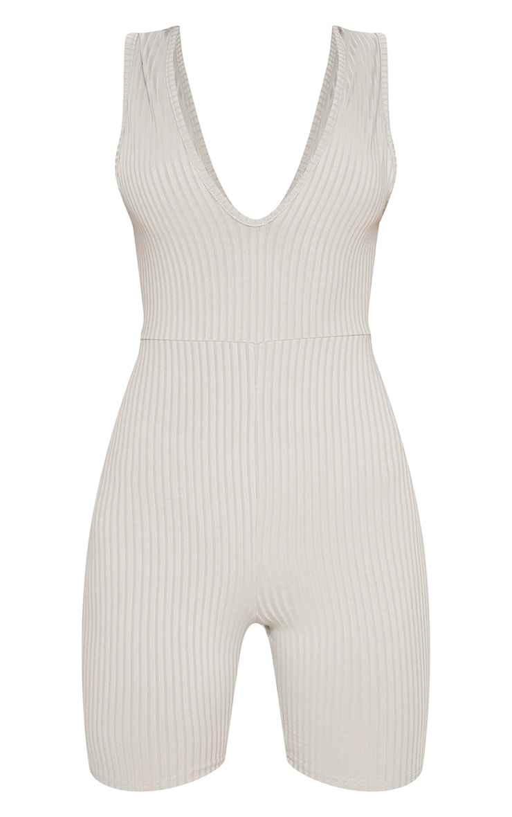 Grey Ribbed Plunge Sleeveless Unitard 3
