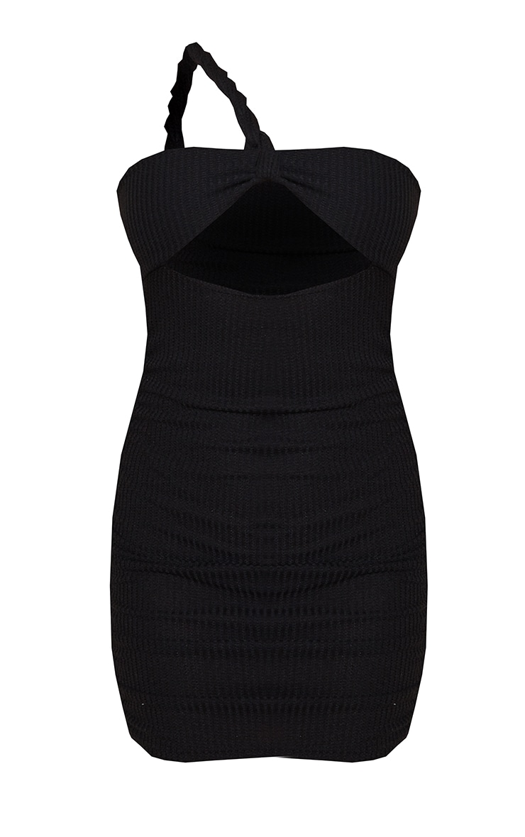 Black Twist Knitted Ruched Bodycon Dress 5