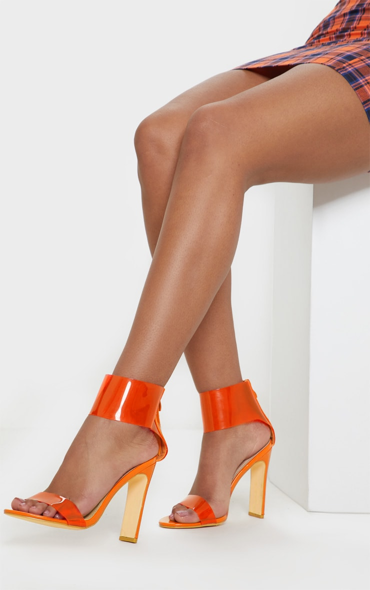 Orange Flat Heel Clear Cuff Strappy Sandal 2