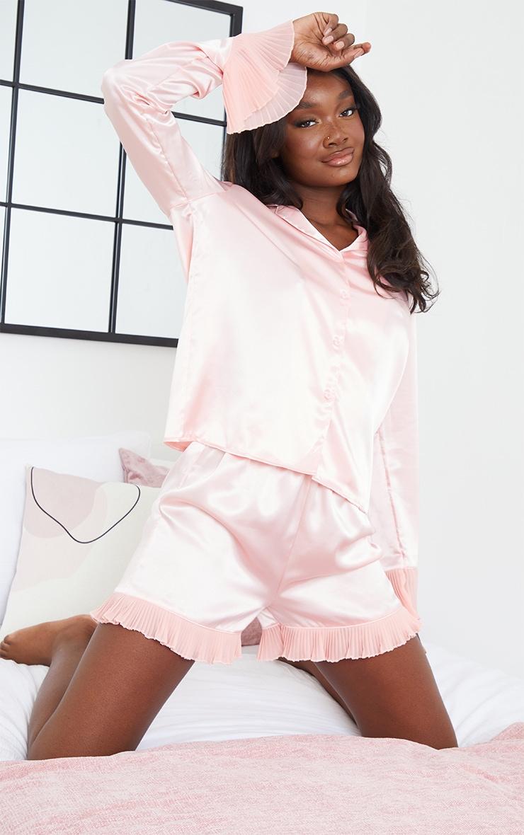 Tall Pink Satin Frill Hem Longsleeve Short Pyjama Set 1