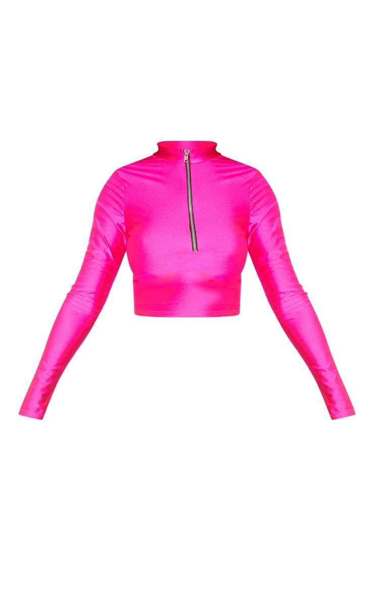 Hot Pink Disco Zip Front High Neck Long Sleeve Crop Top   3