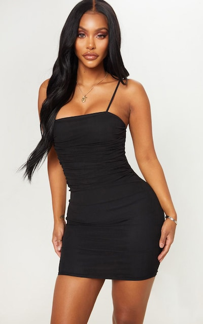 e60a97616d32 Shape Black Strappy Ruched Mesh Bodycon Dress PrettyLittleThing Sticker