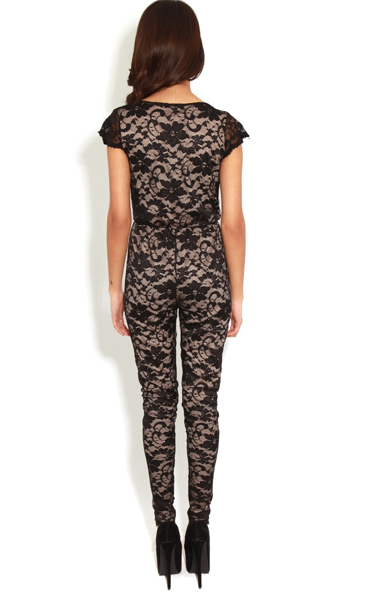 Olivia Nude & Black Lace Crossover Jumpsuit 2