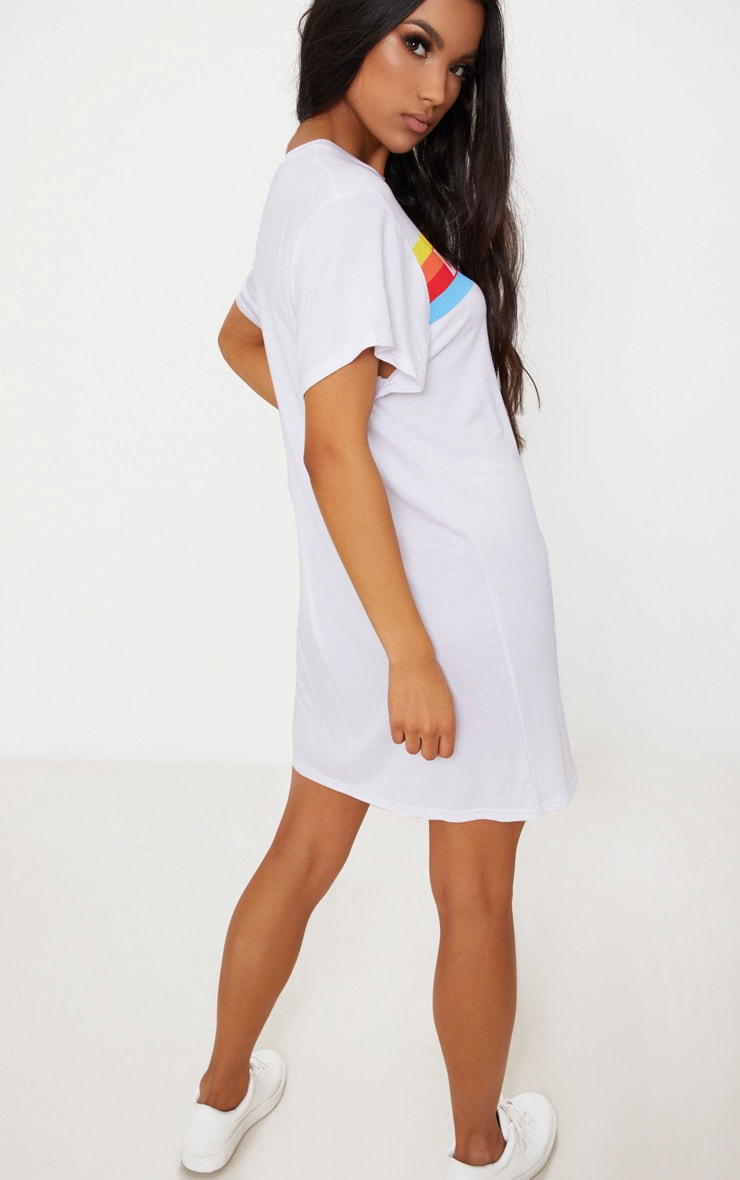 White LA Rainbow Print T Shirt Dress 2