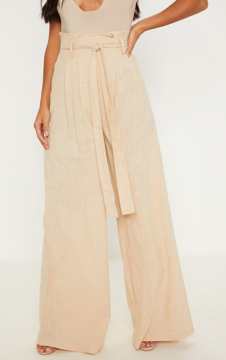 Petite Stone High Waisted Paper Bag Wide Leg Pants 2