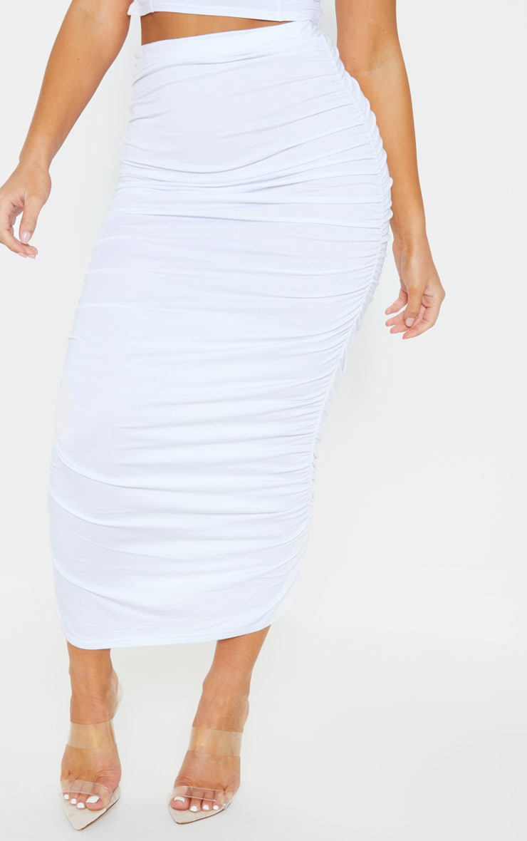 White Ruched Midaxi Skirt 2