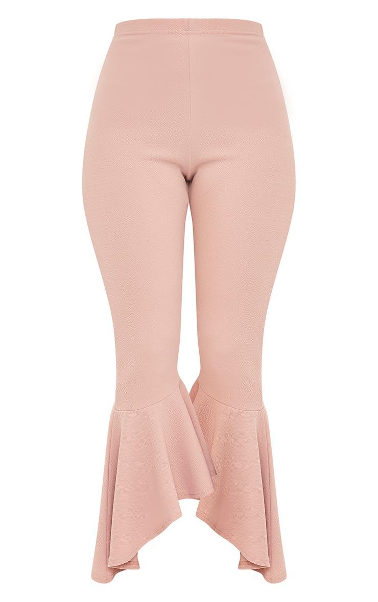 Lourdes Nude Asymmetric Flare Hem Pants 3