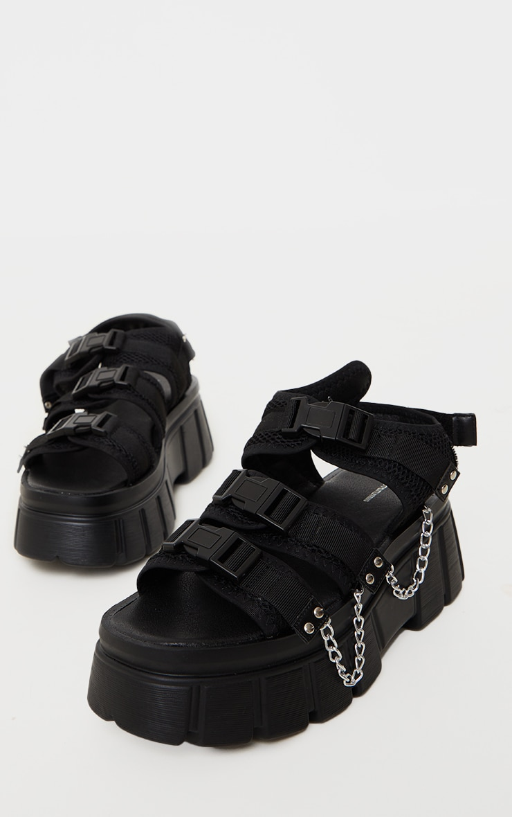 Black Extreme Chunky Sole Clasp Chain Trim Sandals 3