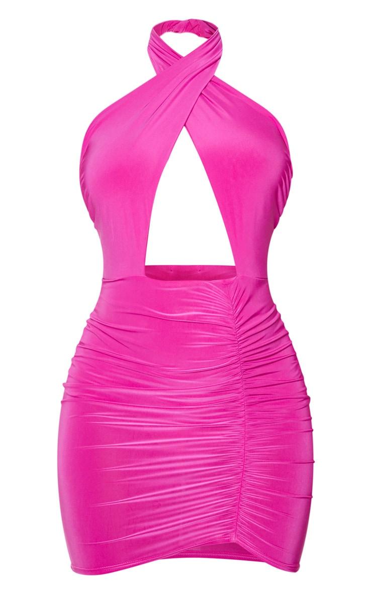 Hot Pink Slinky Halterneck Plunge Ruched Bodycon Dress 6