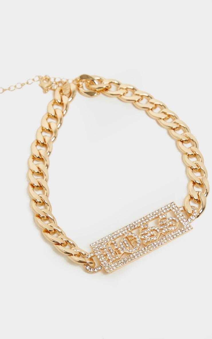 Gold Boss Slogan Bar Chain Choker 3