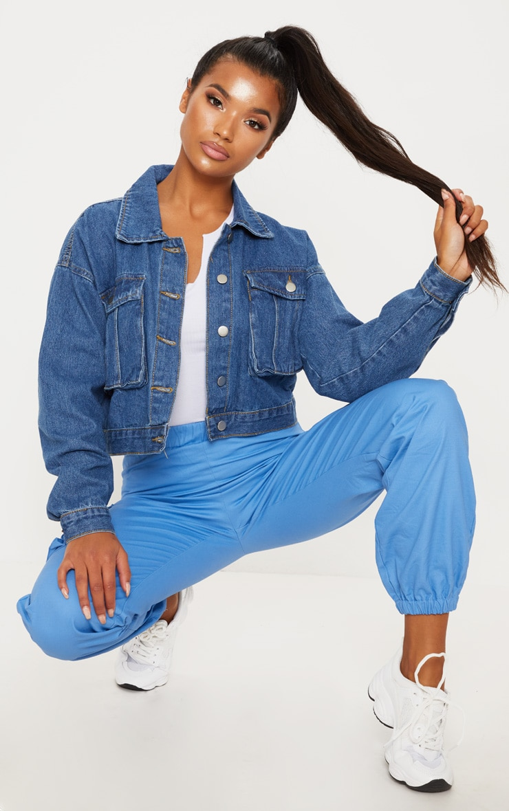Mid Wash Oversized Pocket Cropped Denim Jacket