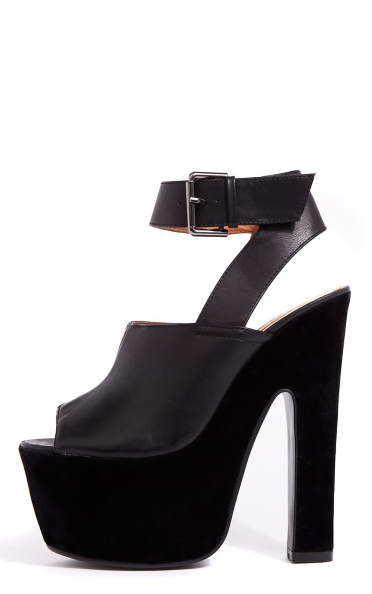 Sally Black Chunky Peeped Toe Heels 1