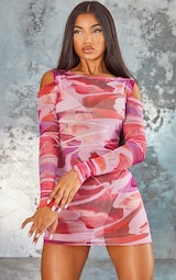 Pink Abstract Print Mesh Lettuce Edge Cold Shoulder Bodycon Dress 3