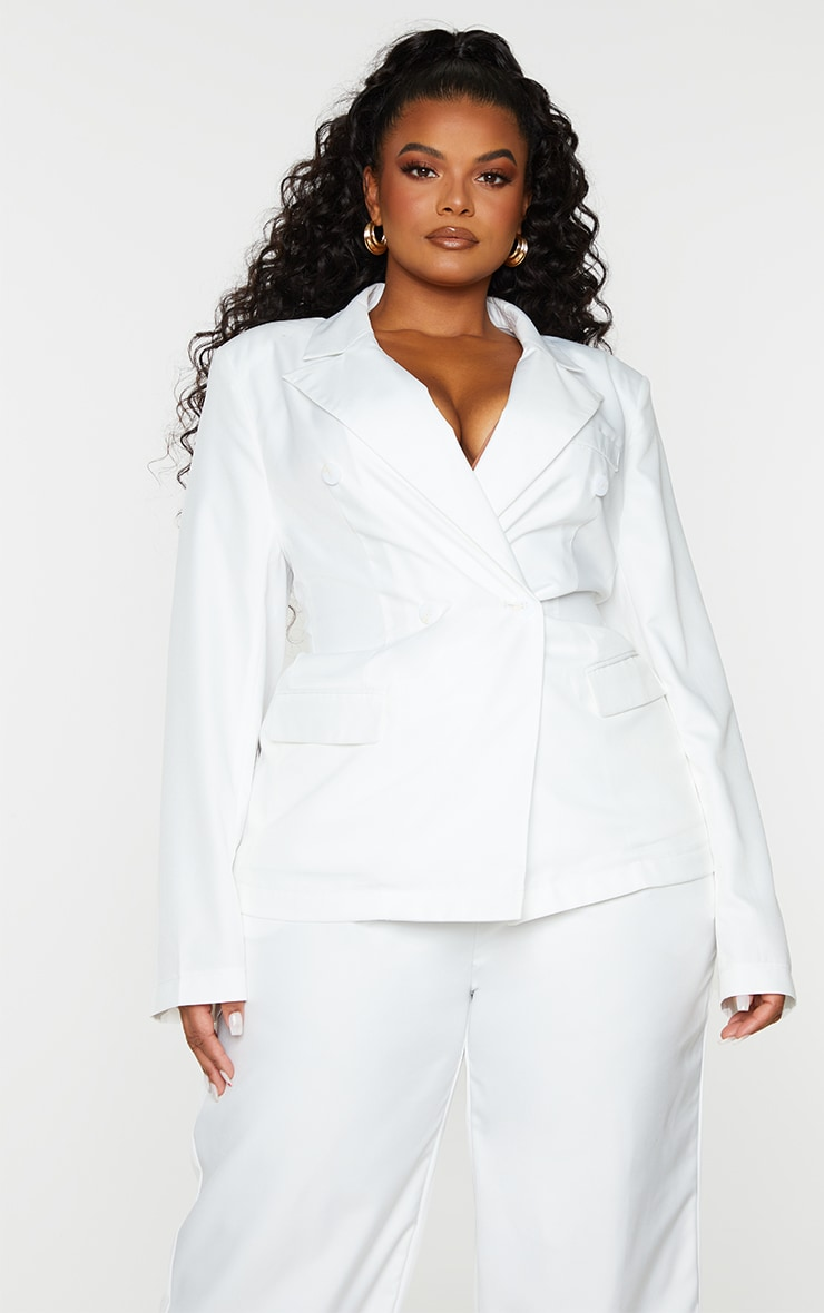 Plus White Woven Double Breasted Shoulder Pad Blazer 1