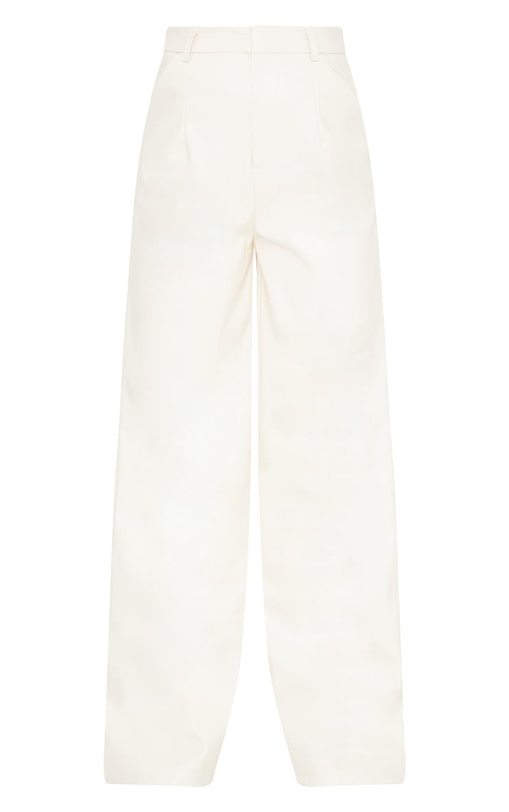 Petite Cream Faux Leather Wide Leg Pants 5