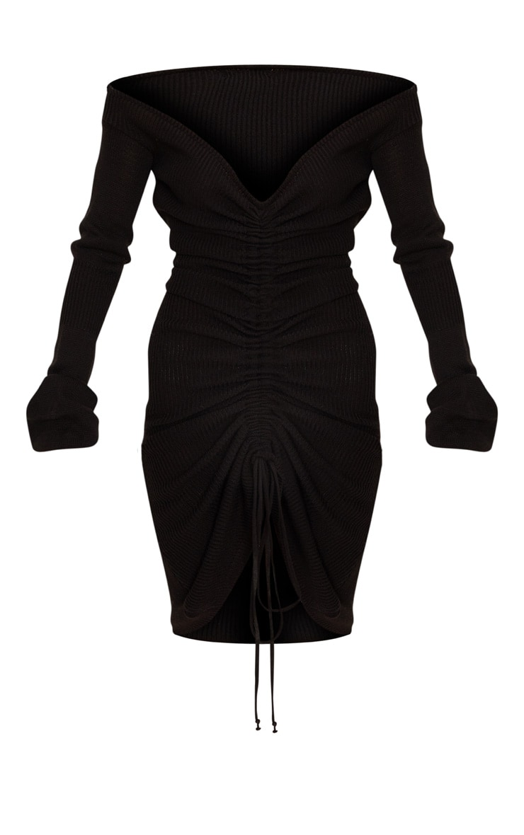 Black Ruched Knit Extreme Sleeve Midi Dress 3