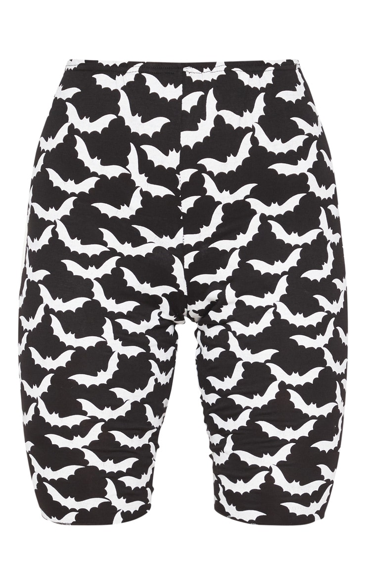 Black Bat Print bike Short 3