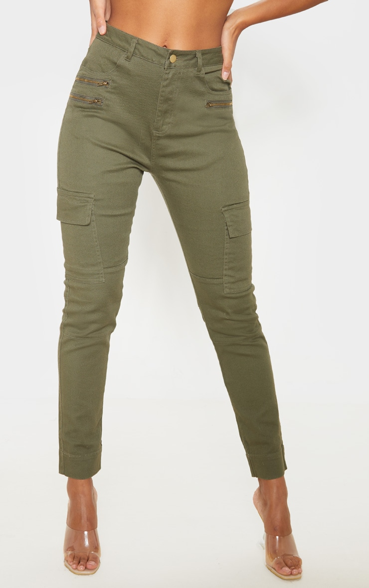 Soft Khaki Cargo Pocket Skinny Jeans 2
