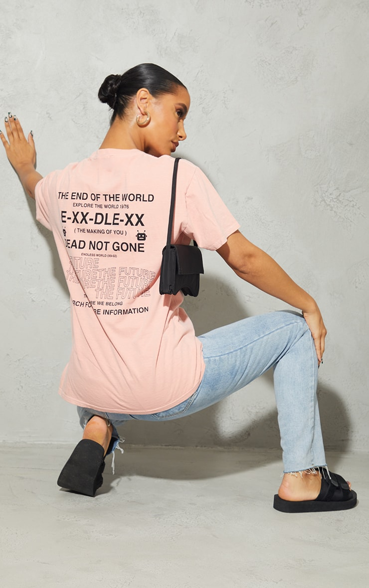 Peach Endless World Back Printed Washed T Shirt 3