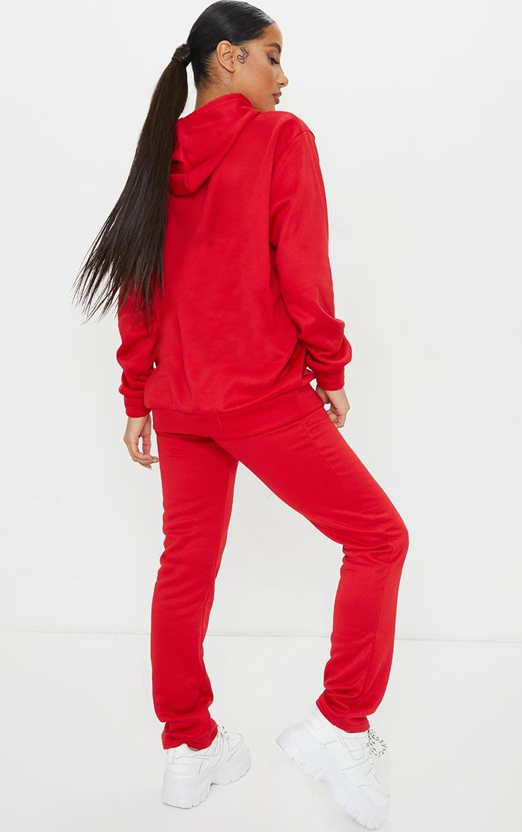 Red Oversized Sweat Hoodie & Straight Leg Jogger Set 2