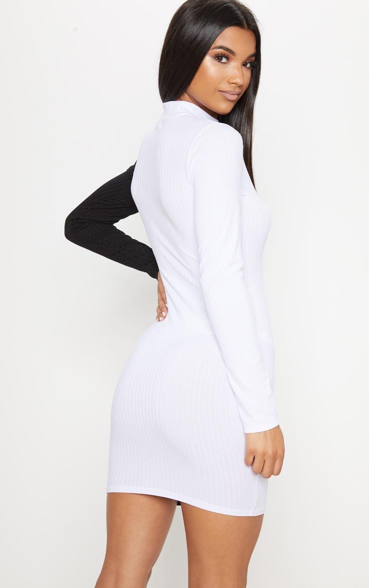 Monochrome High Neck Rib Long Sleeve Bodycon Dress 2