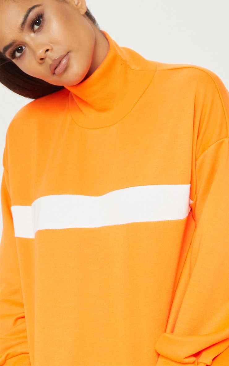 Neon Orange Roll Neck Contrast Stripe Sweat 5