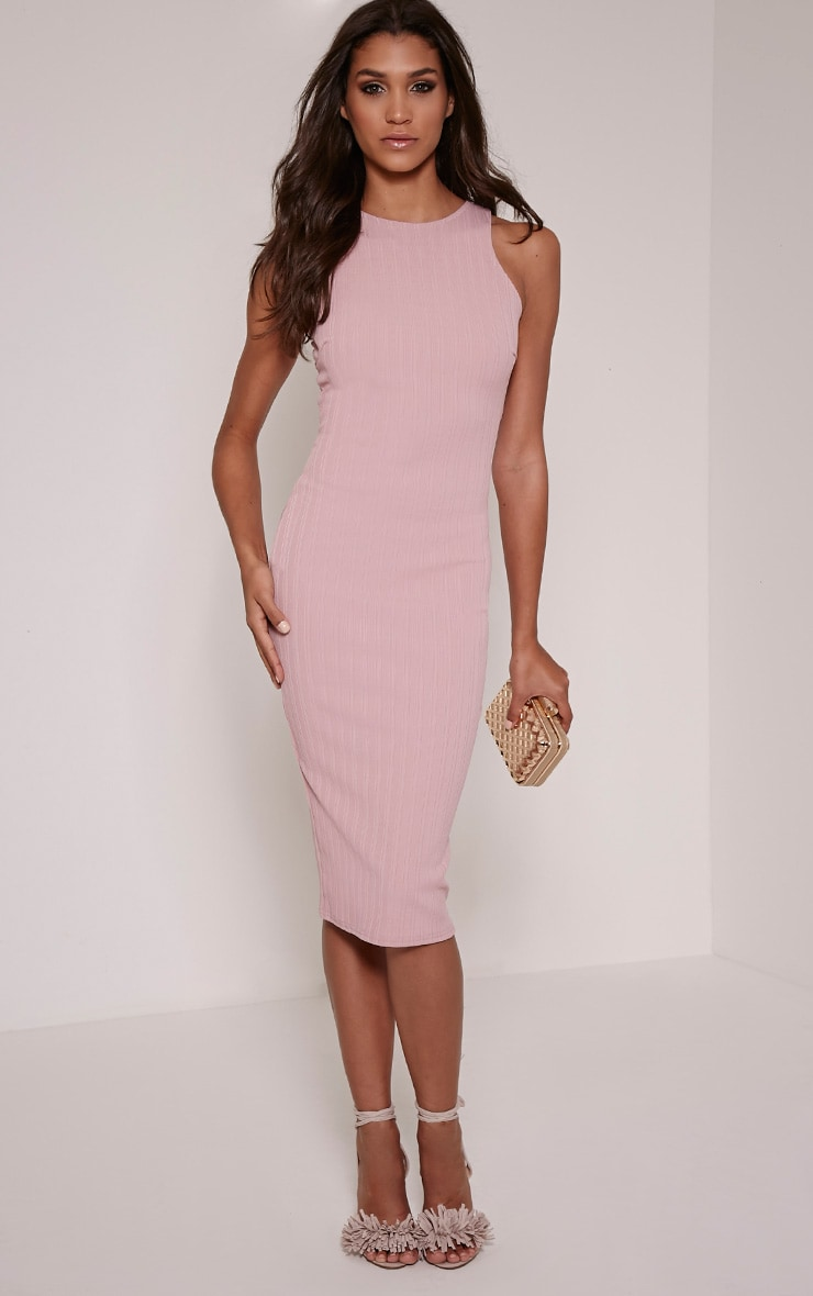 Jazmine Mauve Ribbed Midi Dress 4