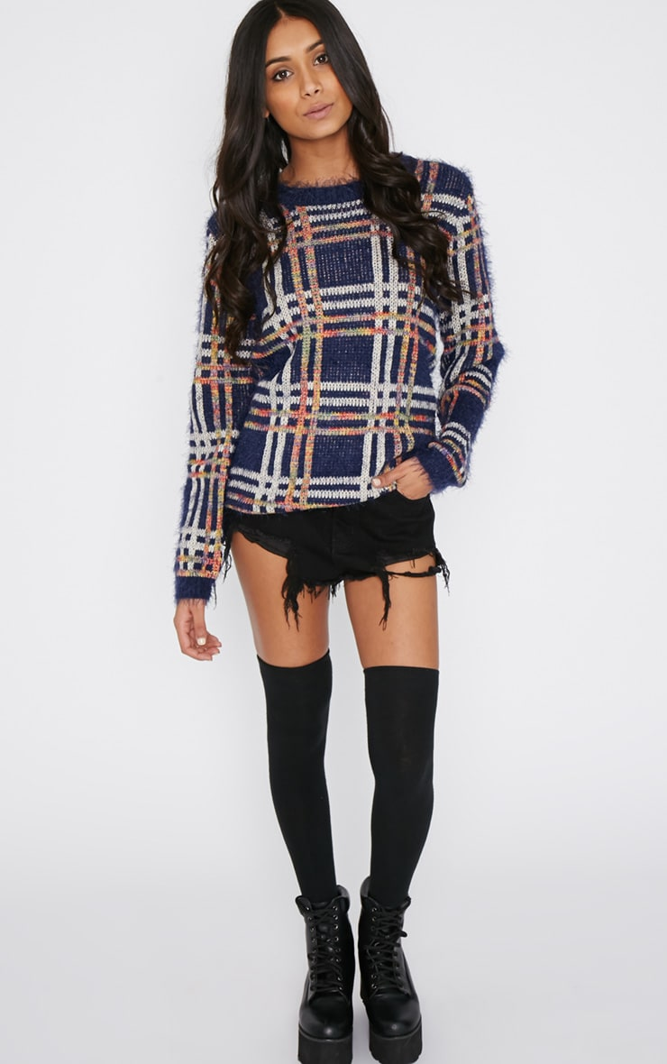 Sacha Blue Tartan Fluffy Jumper  3
