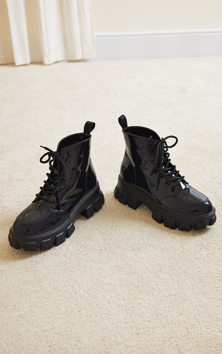 Black Vinyl PU Extreme Chunky Cleat Sole Lace Up Hiker Boot 3
