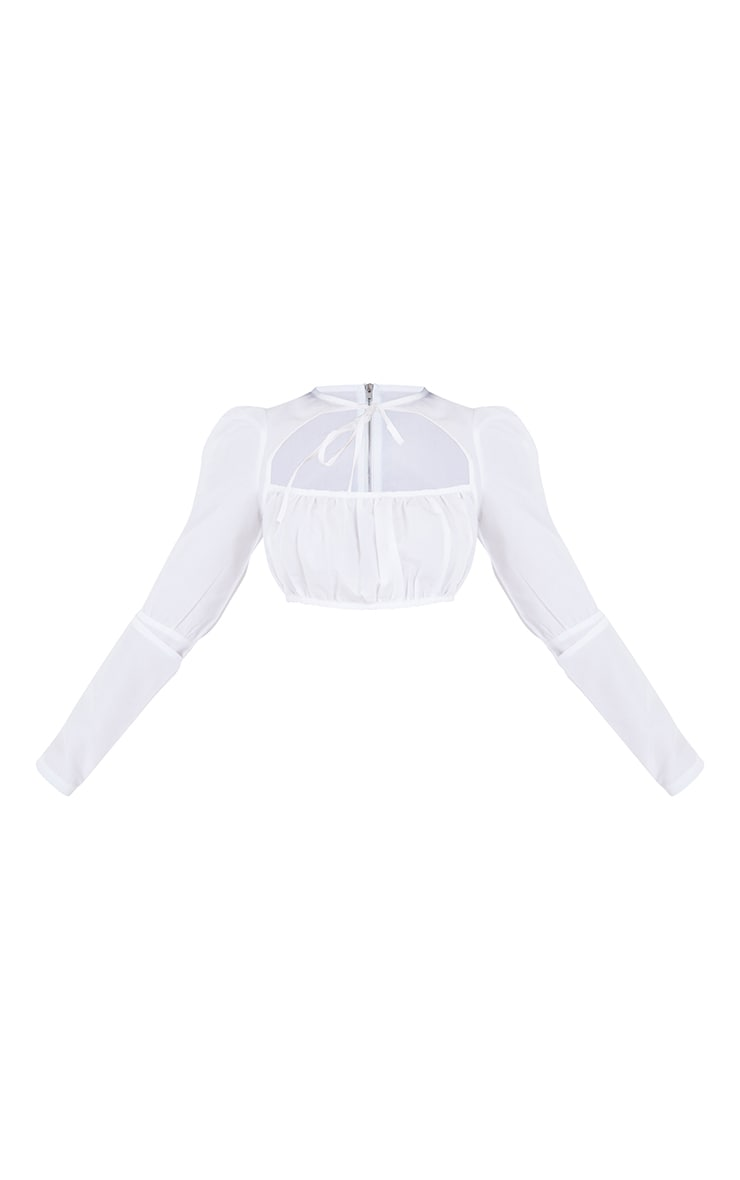 Petite White Tie Cut Out Ruched Bust Long Sleeve Blouse 5
