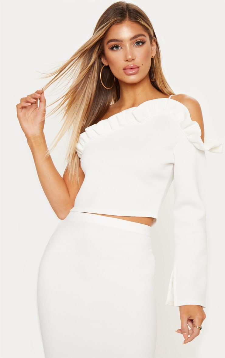 327cf7d1734a89 White Bonded Scuba Frill One Shoulder Crop Top image 1