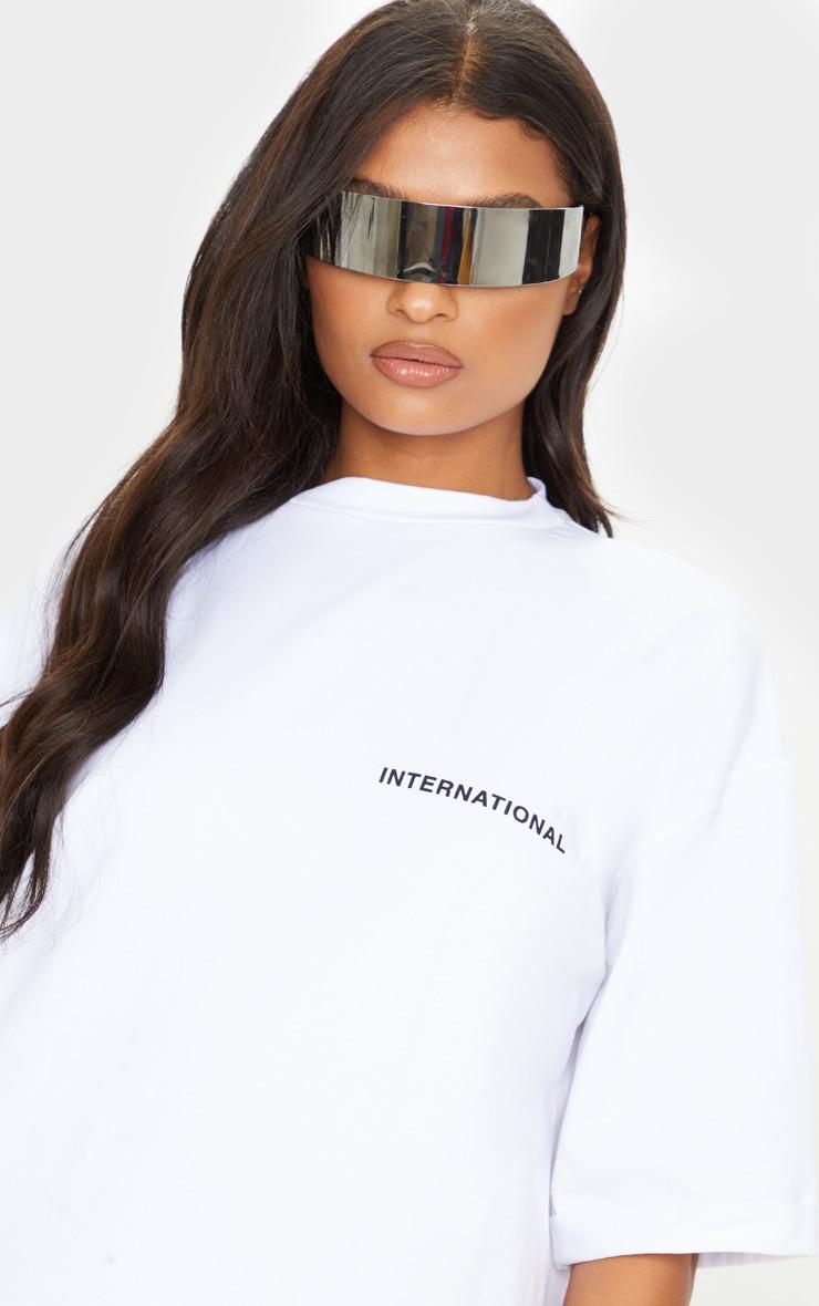 Ecru International Slogan Extra Oversized Boyfriend T Shirt Dress 6