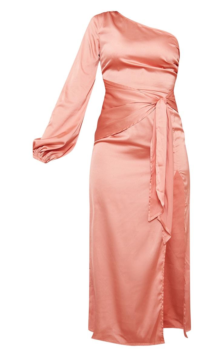 Peach One Shoulder Tie Detail Satin Midaxi Dress 5