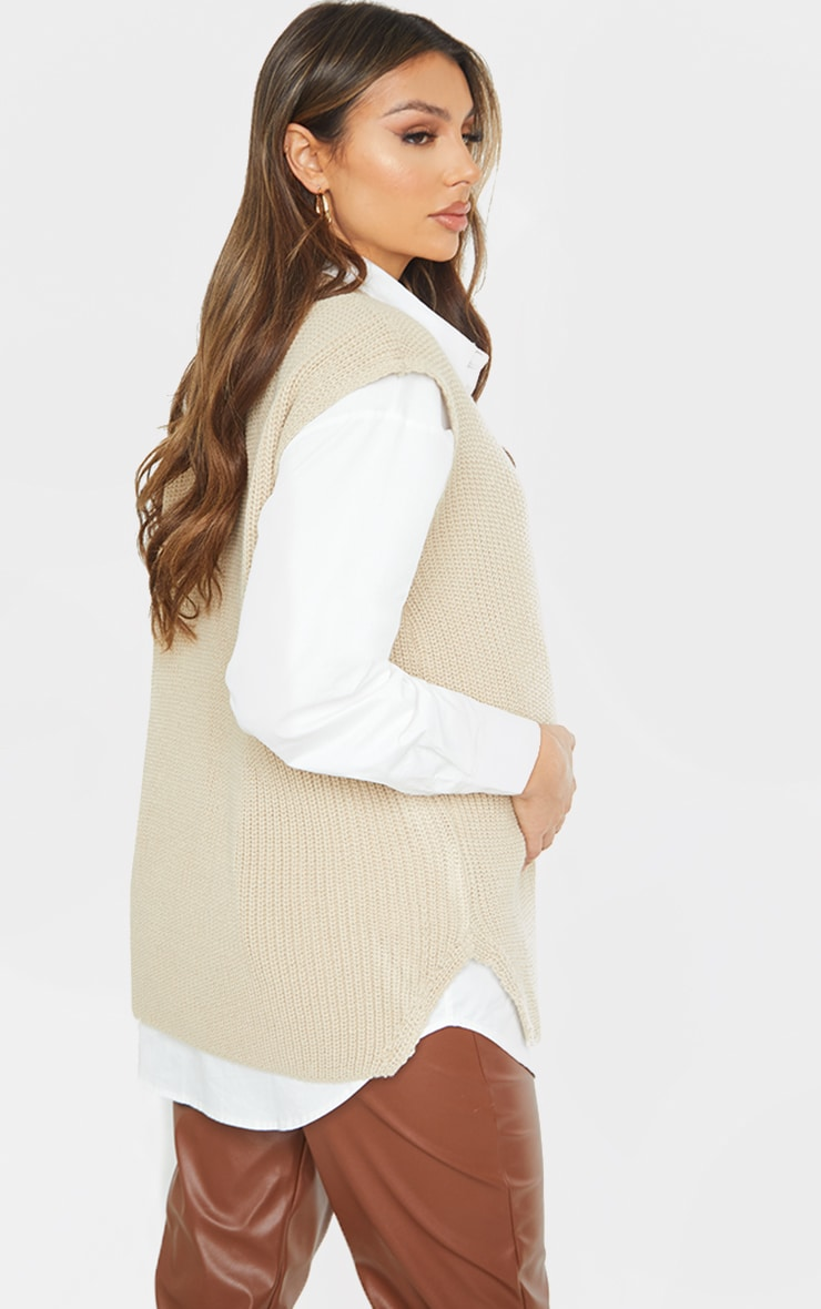 Maternity Stone V Neck Knitted Side Split Vest 2
