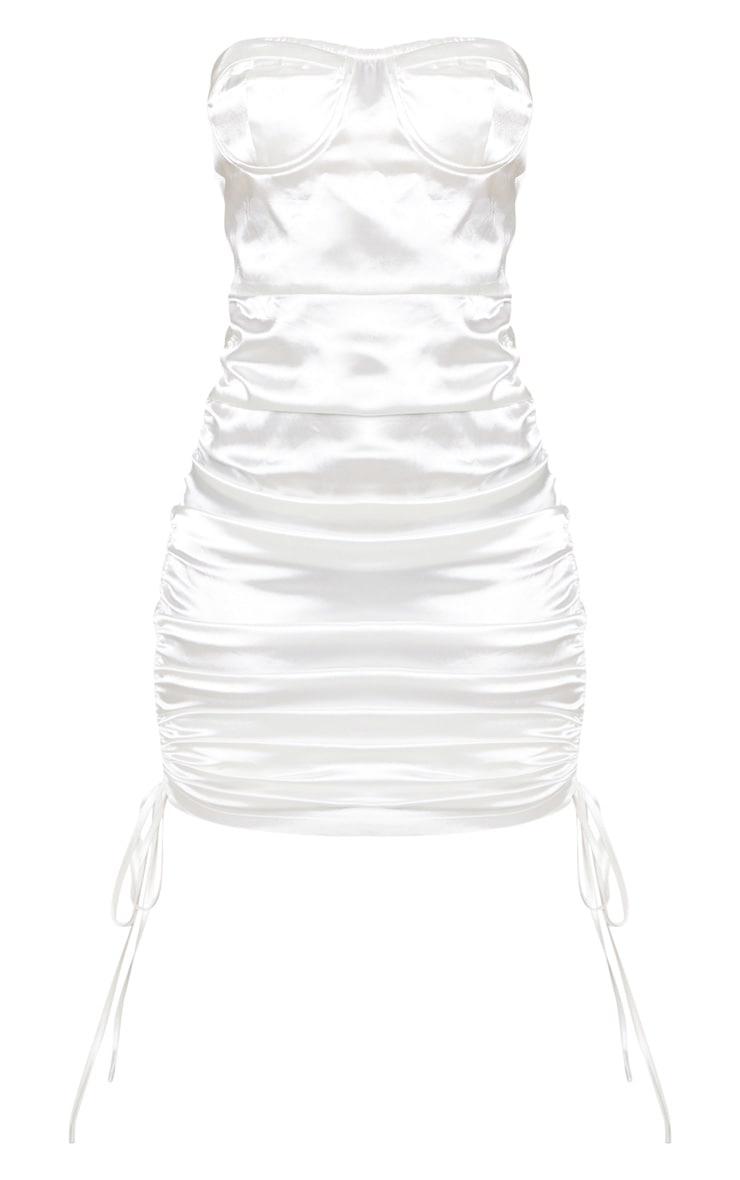 Petite White Corset Detail Ruched Side Satin Mini Dress 3