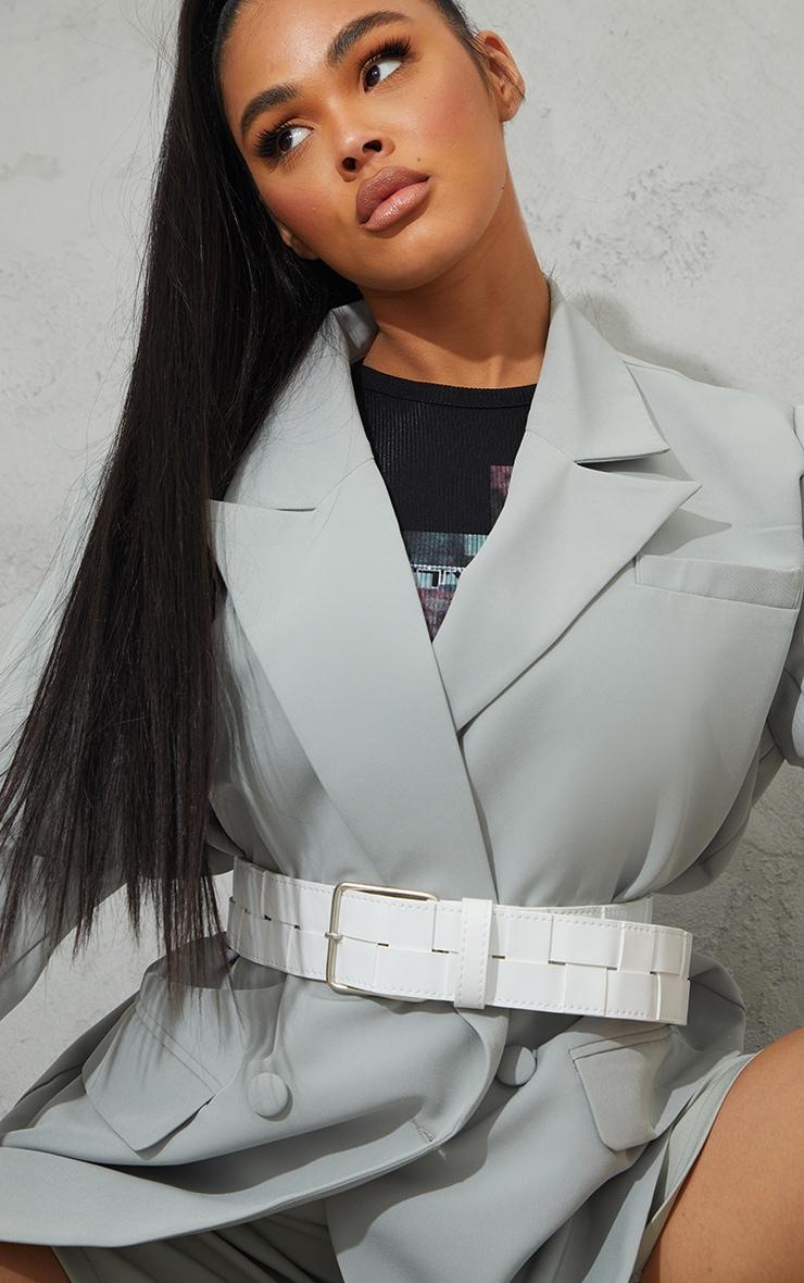 White Woven Chunky Waist Belt 1