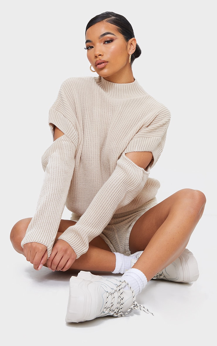 Oatmeal Cut Out Sleeve Knitted Crew Neck Sweater 1